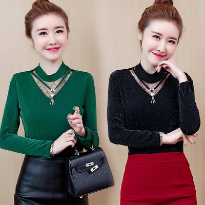 春秋女士长袖洋气新款韩版打底小衫T恤加绒加厚网纱甜美时尚上衣