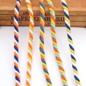 8mm3股彩色棉绳子装饰绳束口绳 抽绳 裤腰绳 帽绳 系绳 DIY绳包邮