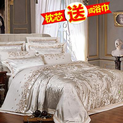 炫耀水星家纺欧美风床上用品四件套全棉纯棉1.8m2.0m床单贡缎被套