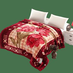 昆庆JD-5-1加厚双层双人拉舍尔毛毯结婚庆送礼冬季用保暖毯子