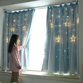网红公主风抖音遮光镂空星星成品窗纱帘卧室飘窗落地窗少女心窗帘