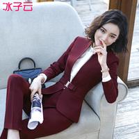 西装套装女2018新款职业装女装OL时尚气质名媛红色西服正装工作服
