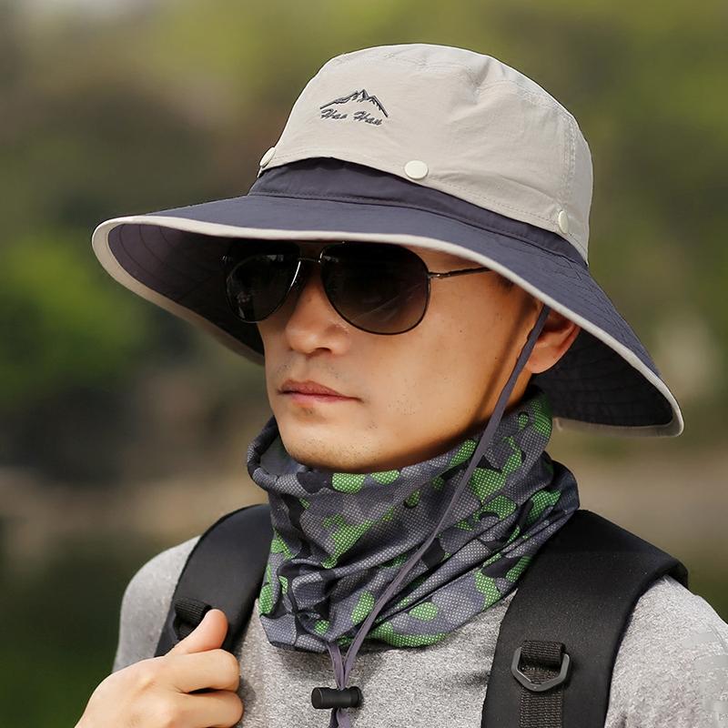 帽子男夏天防紫外线遮阳帽防晒帽户外青年太阳帽遮脸钓鱼帽渔夫帽3元优惠券