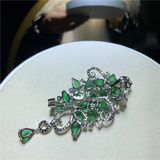 New natural freshwater pearl green gemstone brooch female autumn and winter coat accessories to send his girlfriend
