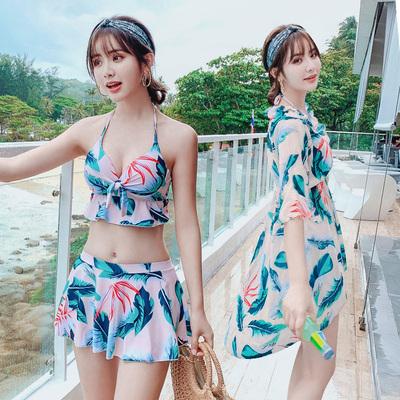 泳衣女三件套2018新款超仙比基尼分体性感遮肚显瘦保守温泉游泳衣
