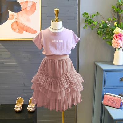 套装2018女童夏季新品休闲短袖套头T恤+儿童纯色不规则纱裙4227