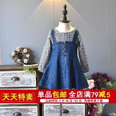 女童春季连衣裙新款时尚洋气公主儿童背带裙假两件牛仔裙子4010
