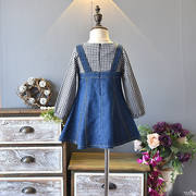Girls autumn dress new fashion foreign princess children's strap skirt fake two piece denim skirt 4010