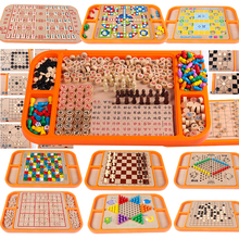 Children's Puzzle Game, Chess Flying Qi, Chess Jumping, Solid Wood Multifunctional Chess Board, 25-in-one Chess Puzzle Toys