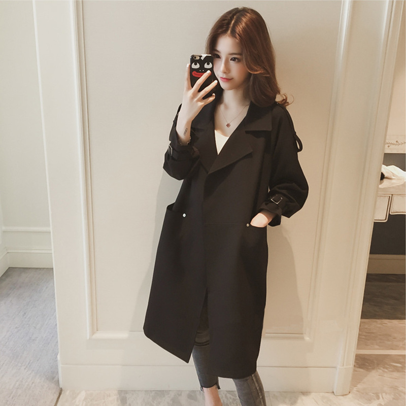 2018 spring and autumn new style knee short short windbreaker jacket ladies long section West