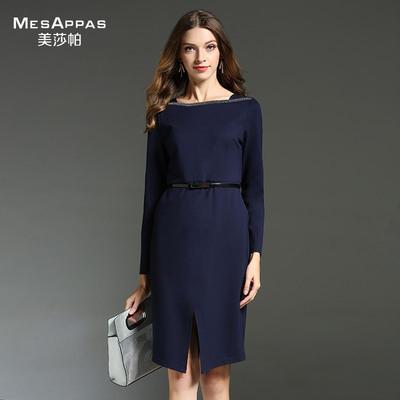 美莎帕品牌2017秋季新款简约秋装链条连衣裙长袖纯色开叉包臀裙女