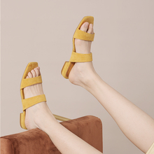 A Pick of Square Women's Shoes Summer 2019 Bohemian Sandals Suede Rough Heel Square Head Slippers Rome Small Fresh Flat Bottom