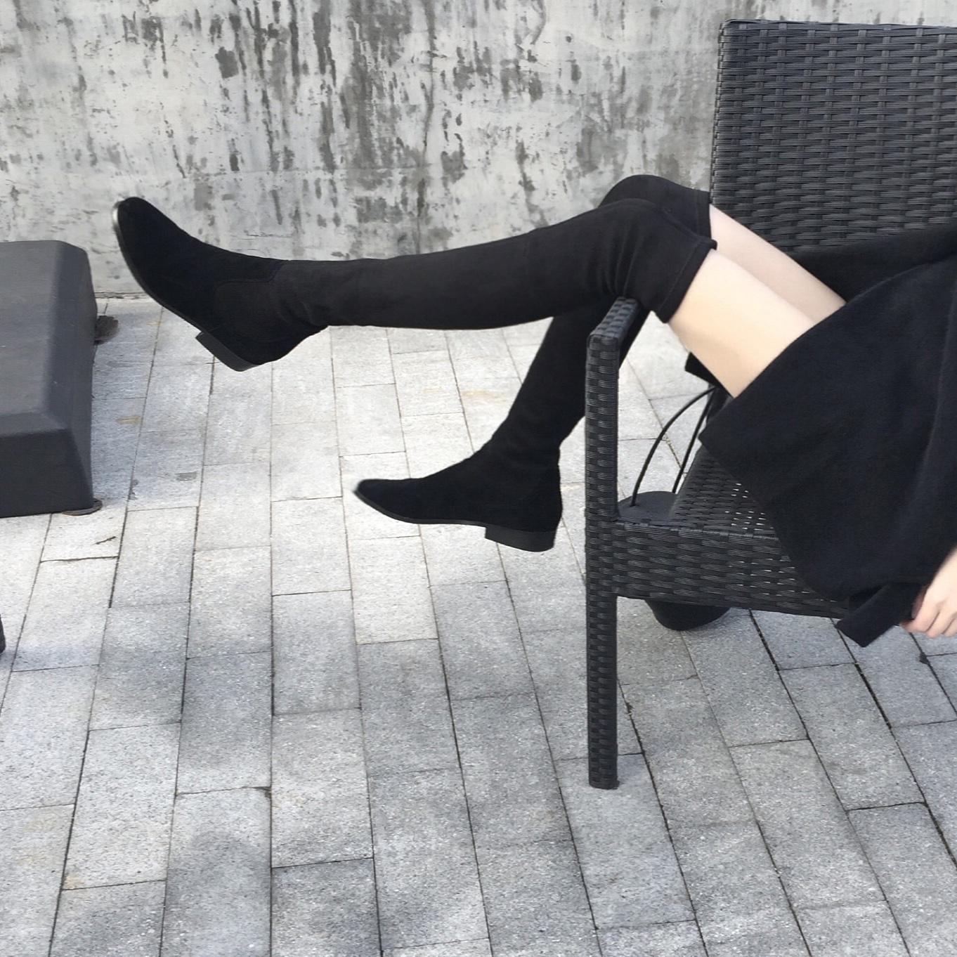 过膝靴长靴高筒靴子粗跟磨砂皮