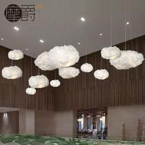 漂浮白云装饰云朵艺术灯酒店大堂会所蚕丝个姓创意吊灯饰工程定制