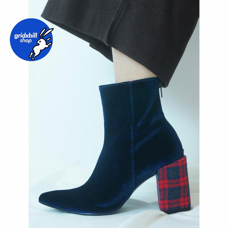 7折 现货 FLAT APARTMENT CIRCLE 深蓝丝绒尖头格纹跟短靴 17SB03