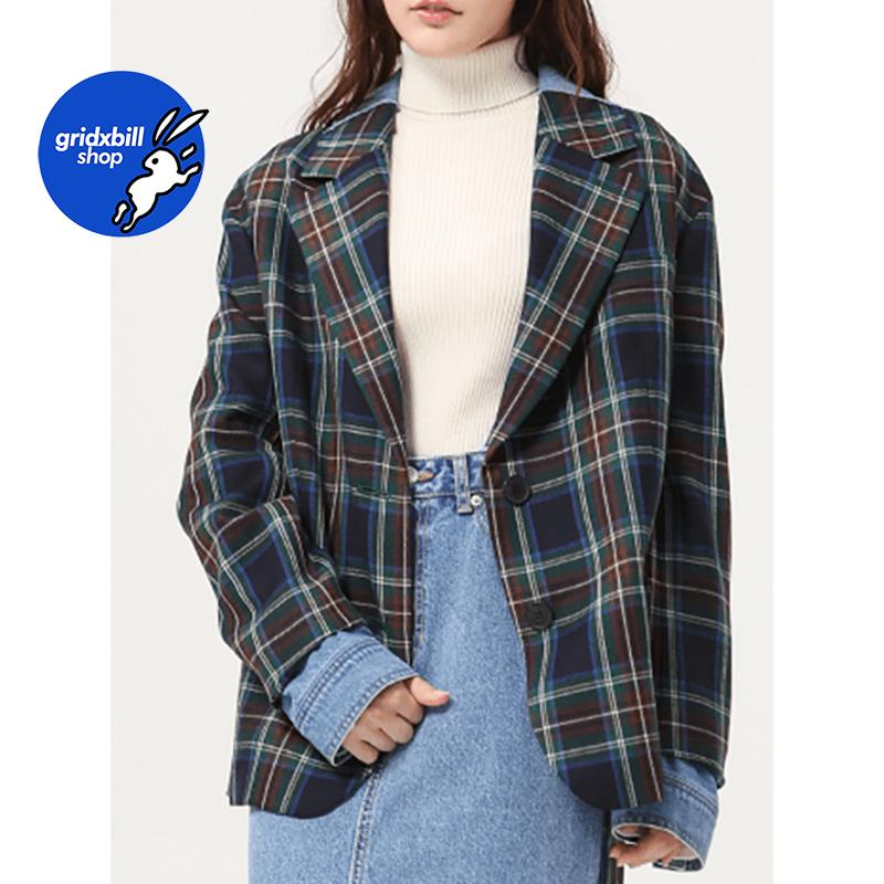 折扣 SJYP BLACK 18秋冬 個性格紋牛仔拼接廓形羊毛西裝短外套