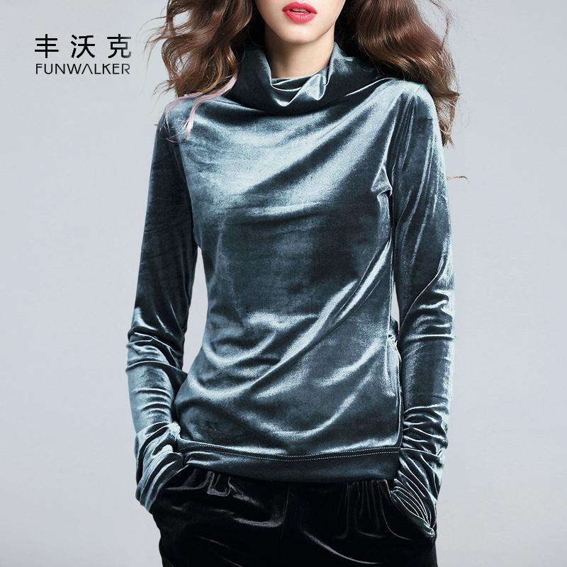 春季长袖t恤女2018大码高领百搭纯色丝绒上衣显瘦丝绒打底衫女潮