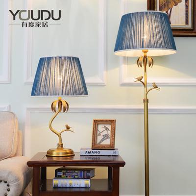 美式全铜台灯田园温馨客厅卧室床头台灯书房别墅酒店复古欧落地灯