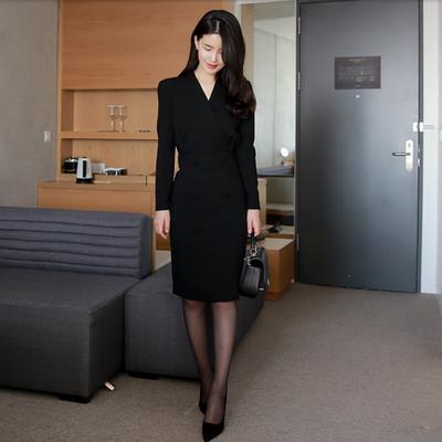 2018秋冬新款职业女装时尚OL黑色v领黑色连衣裙名媛修身气质裙子