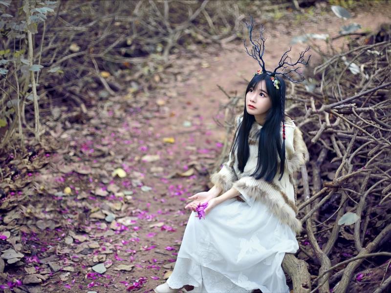 森林系仙女范圣诞派对狂欢麋鹿角发箍饰品黑暗系女巫树枝头饰包邮
