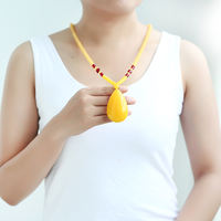 Second generation honey wax drop pendant chicken oil yellow old honey with hanging pendant female sweater chain old honey accompanying bead necklace