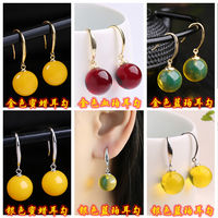 Natural amber new old wax earrings female models S925 sterling silver blue pel ear nails blood and beads beads earrings jewelry