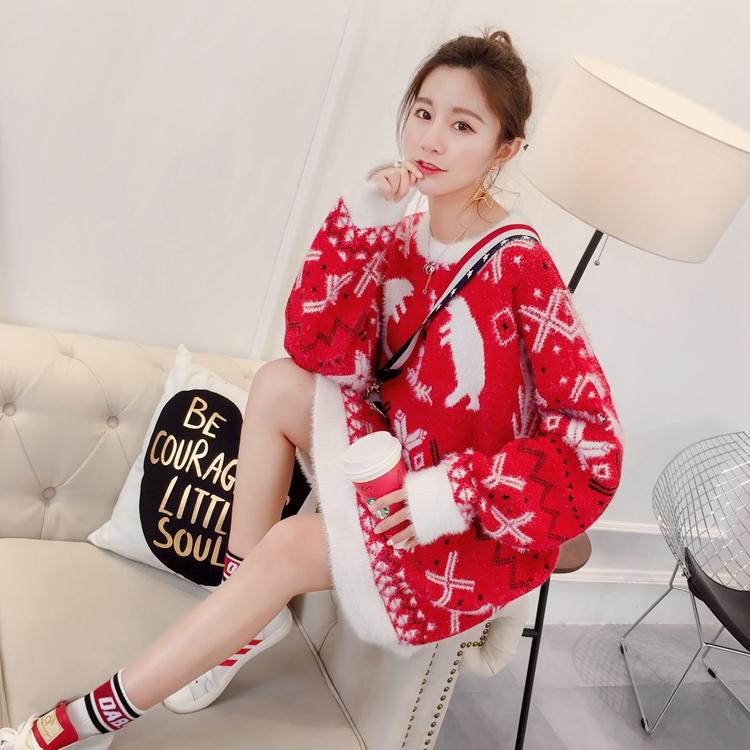 红色毛衣女套头秋冬2018新款宽松中长款圣诞很仙的上衣洋气慵懒风