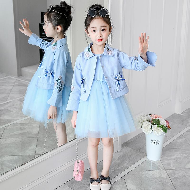 女童外套长袖连衣裙儿童小童中童女孩公主裙洋气春秋款套装裙套裙