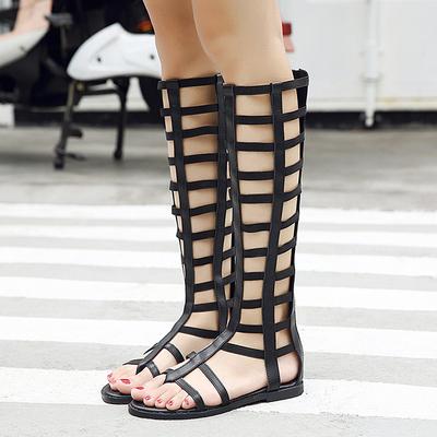 凉鞋女夏平底高筒凉靴子2018新款夏季女鞋夹趾时尚百搭软妹罗马鞋
