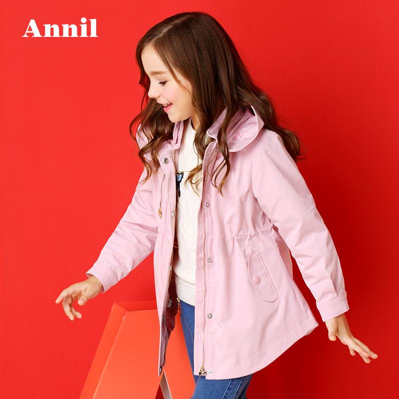 安奈儿童装女童秋冬中大童学生中长款脱胆棉风衣外套EG745475