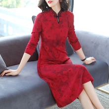 Chinese style red improved cheongsam dress autumn and winter large size retro long paragraph bottoming skirt 2019 women's clothing