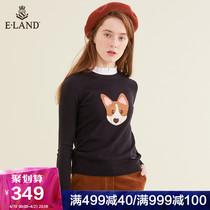 ELAND2019春季新款修身打底针织套头衫女卡通提花EEKW912H3C