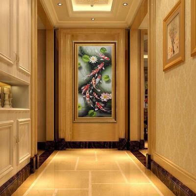 油画玄关装饰画九鱼图竖版现代客厅壁画中式风水欧式手绘定制挂画哪里购买