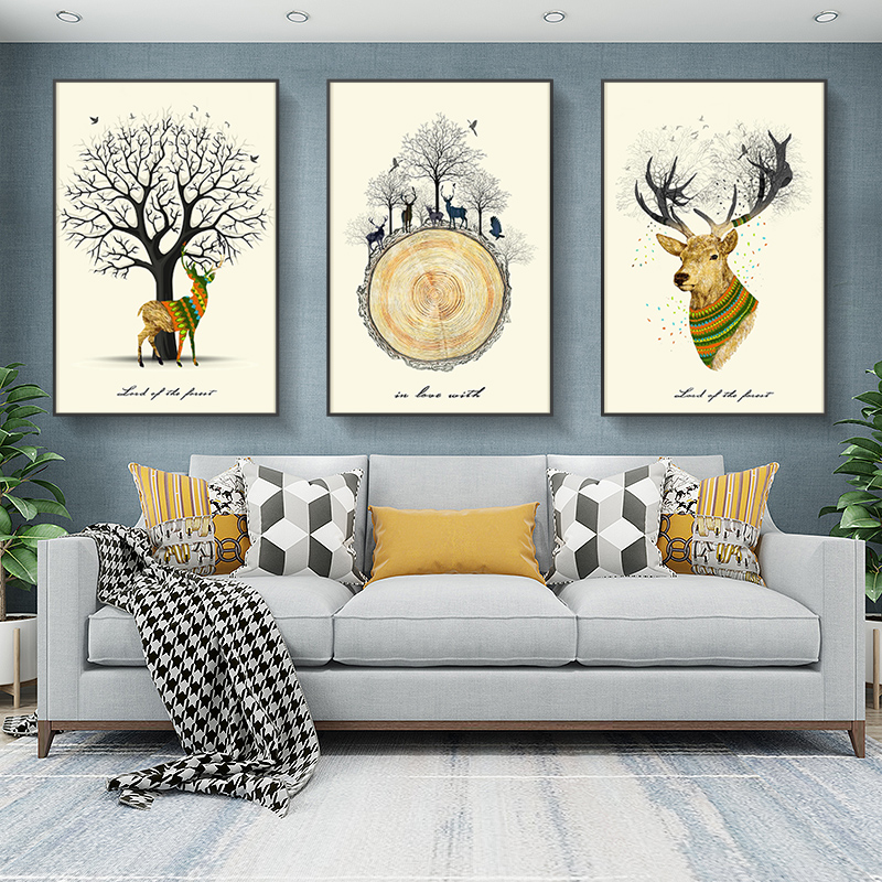 北欧麋鹿客厅装饰画卧室三联水晶壁画现代沙发背景墙画挂画免打孔