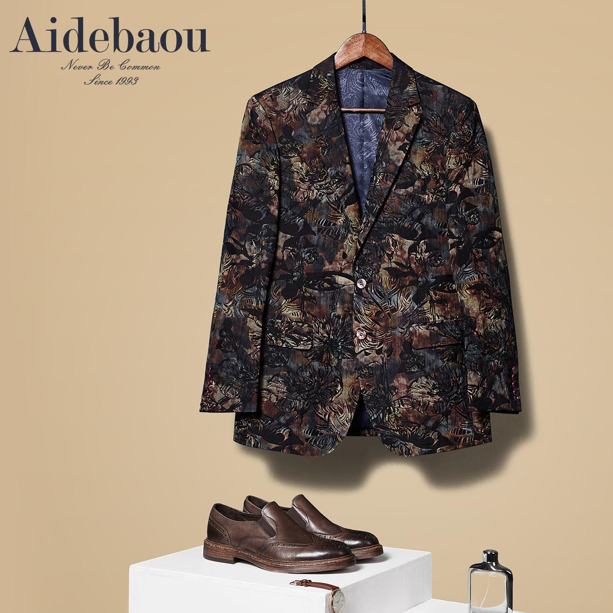 爱得堡男士印花小西装韩版修身秋季外套男青年西服潮流休闲单西