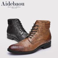 爱得堡男靴子中帮马丁靴男短靴男士皮靴冬季中筒英伦复古做旧男靴