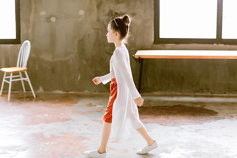 女童防止晒伤开衫2018夏长款开衫渡假防止晒伤针织衫中大童空调衫
