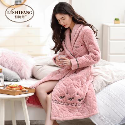 睡袍女冬季加厚加长款三层珊瑚绒夹棉睡衣保暖加绒冬天法兰绒浴袍