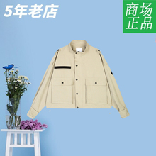 Hot Wind Fall 2019 Women's Short Handsome Jacket Short Coat Pure Colour Vertical Neck Cotton Conventional F07W9305