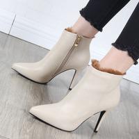 细跟短靴女马丁靴2018秋冬新款高跟鞋侧拉链毛毛加绒女靴尖头裸靴