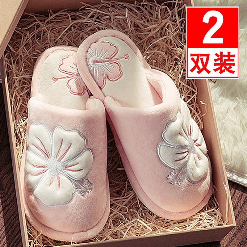 买一送一棉拖鞋女冬季室内家居家用厚底防滑保暖情侣月子拖鞋男冬图片