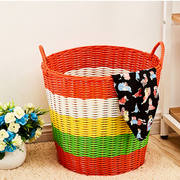 Dirty clothes basket dirty clothes storage basket basket thick tube plastic rattan laundry basket laundry basket toy storage basket weaving