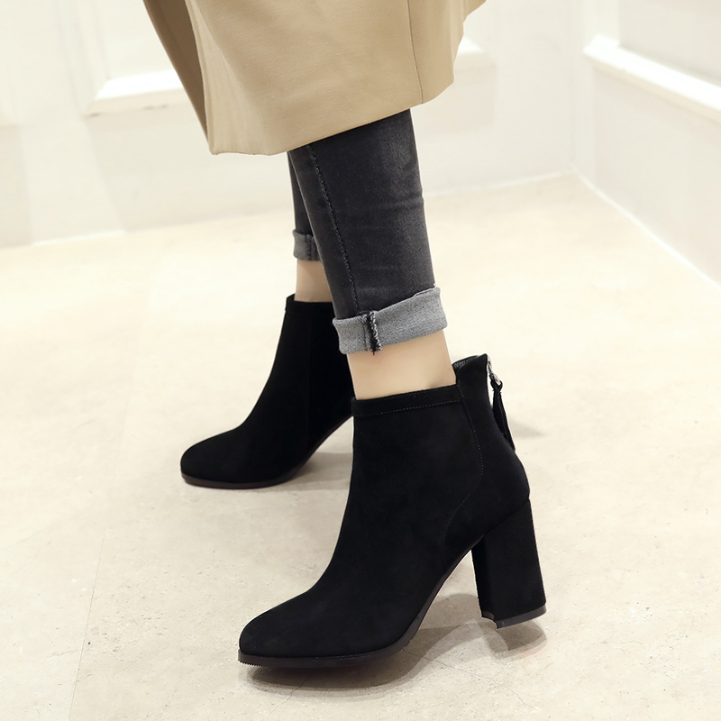 2018新款秋冬韩版短靴女圆头粗跟真皮及踝靴高跟靴舒适网红马丁靴
