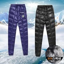 羽绒裤男士外穿青年修身白鸭绒裤大码男装加厚内穿保暖羽绒棉裤冬
