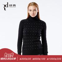 绒典羊绒衫女秋冬新款高领钉珠修身纯羊绒打底衫时尚毛衣套头