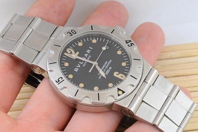 现货二手宝格丽手表男自动机械200M潜水表黑盘正品Bvlgari瑞士表