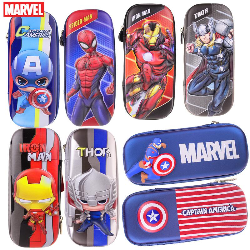 迪士尼笔袋小学生男童文具盒美国队长蜘蛛侠铅笔盒立体防摔铅笔袋