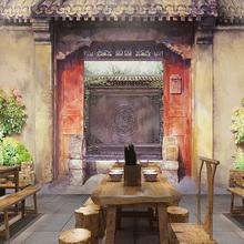 手绘老北京胡同农家院3d壁画中式餐厅酒店大堂饭店壁纸火锅店墙纸