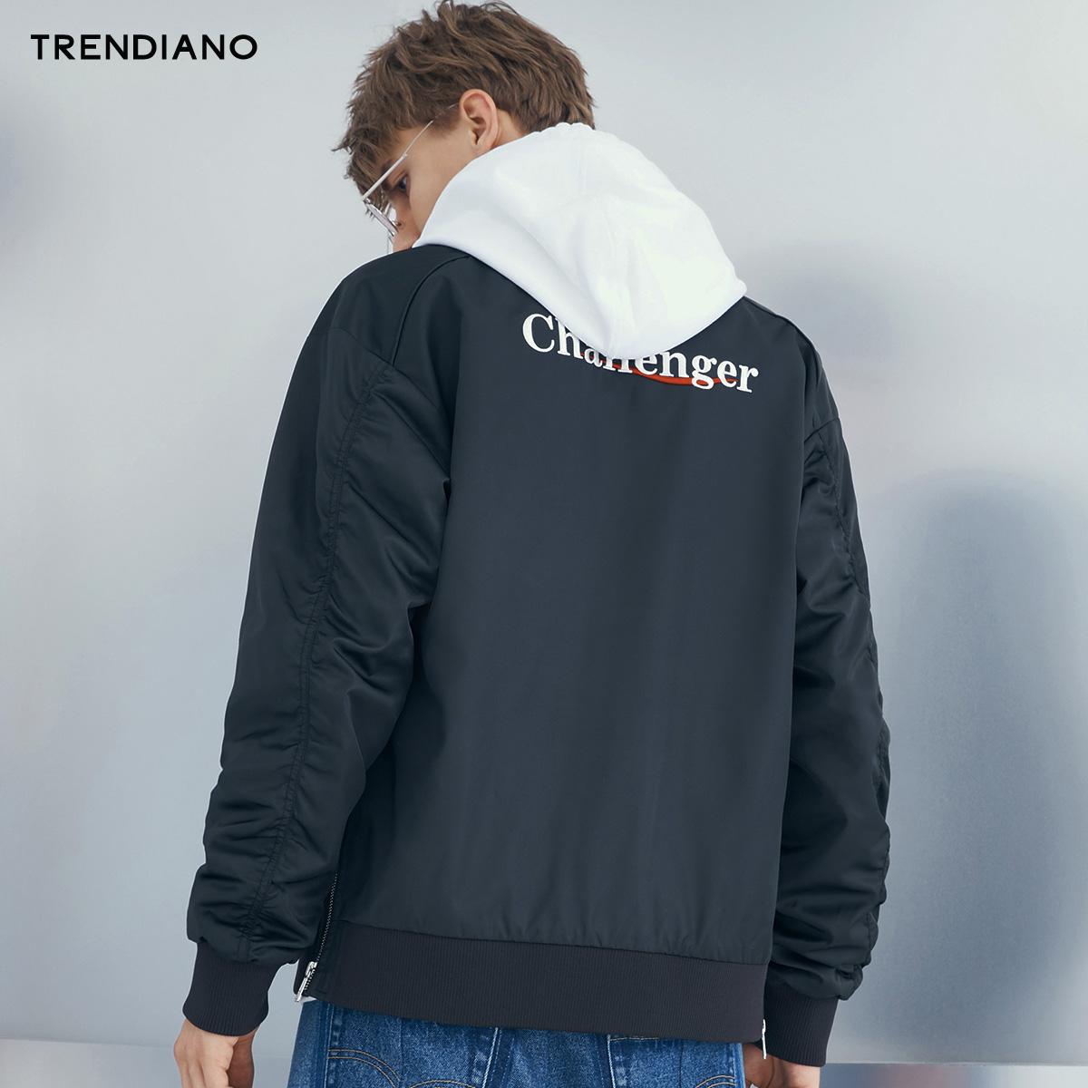 TRENDIANO男装秋装字母刺绣宽松棒球服夹克外套3GC304732P图片