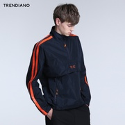 TRENDIANO新男装夏装潮休闲刺绣宽松拼接套头风衣外套3JC1046120
